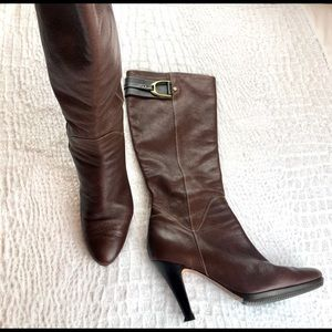 Cole Haan Shoes - Cole Haan sierra Brown leather tall heel boots 11
